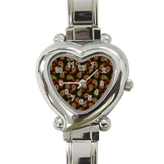 Pattern Abstract Paisley Swirls Heart Italian Charm Watch by Onesevenart
