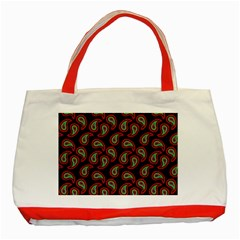 Pattern Abstract Paisley Swirls Classic Tote Bag (red) by Onesevenart