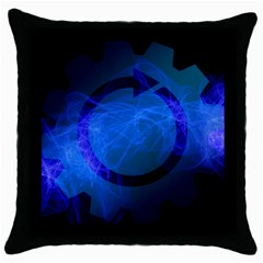 Particles Gear Circuit District Throw Pillow Case (black) by Onesevenart