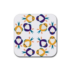 Pattern Circular Birds Rubber Coaster (square)  by Onesevenart