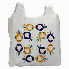 Pattern Circular Birds Recycle Bag (two Side)  by Onesevenart