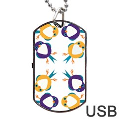 Pattern Circular Birds Dog Tag Usb Flash (one Side) by Onesevenart