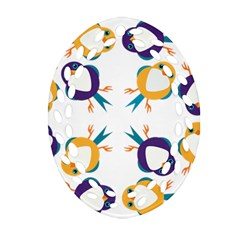 Pattern Circular Birds Oval Filigree Ornament (two Sides) by Onesevenart