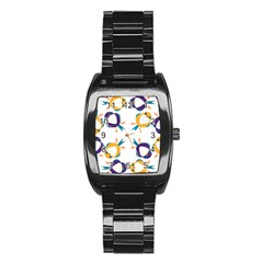 Pattern Circular Birds Stainless Steel Barrel Watch by Onesevenart