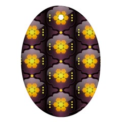 Pattern Background Yellow Bright Ornament (oval) by Onesevenart