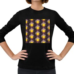 Pattern Background Yellow Bright Women s Long Sleeve Dark T Shirts by Onesevenart