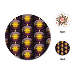 Pattern Background Yellow Bright Playing Cards (round)  by Onesevenart