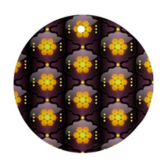 Pattern Background Yellow Bright Round Ornament (two Sides) by Onesevenart