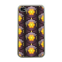 Pattern Background Yellow Bright Apple Iphone 4 Case (clear) by Onesevenart