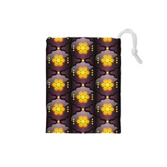 Pattern Background Yellow Bright Drawstring Pouches (small)  by Onesevenart