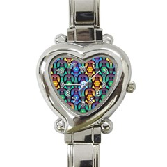 Pattern Background Bright Blue Heart Italian Charm Watch by Onesevenart