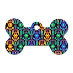 Pattern Background Bright Blue Dog Tag Bone (two Sides) by Onesevenart