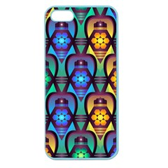 Pattern Background Bright Blue Apple Seamless Iphone 5 Case (color) by Onesevenart