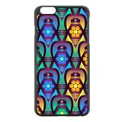 Pattern Background Bright Blue Apple Iphone 6 Plus/6s Plus Black Enamel Case by Onesevenart