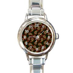 Pattern Abstract Paisley Swirls Round Italian Charm Watch by Onesevenart