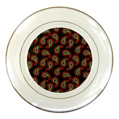Pattern Abstract Paisley Swirls Porcelain Plates by Onesevenart