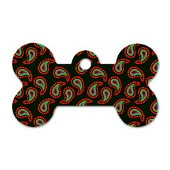Pattern Abstract Paisley Swirls Dog Tag Bone (two Sides) by Onesevenart