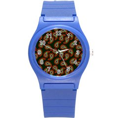 Pattern Abstract Paisley Swirls Round Plastic Sport Watch (s) by Onesevenart