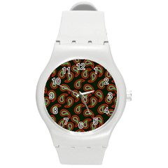Pattern Abstract Paisley Swirls Round Plastic Sport Watch (m) by Onesevenart
