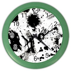 Pattern Color Painting Dab Black Color Wall Clocks by Onesevenart