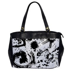 Pattern Color Painting Dab Black Office Handbags by Onesevenart