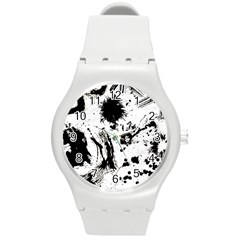 Pattern Color Painting Dab Black Round Plastic Sport Watch (m) by Onesevenart