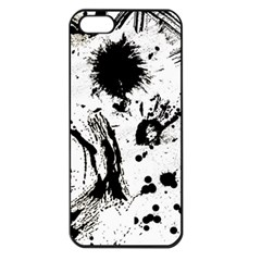 Pattern Color Painting Dab Black Apple Iphone 5 Seamless Case (black) by Onesevenart