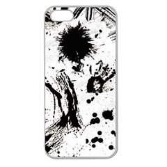 Pattern Color Painting Dab Black Apple Seamless Iphone 5 Case (clear) by Onesevenart