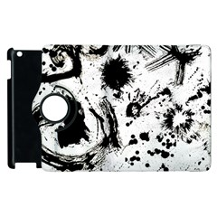 Pattern Color Painting Dab Black Apple Ipad 2 Flip 360 Case by Onesevenart