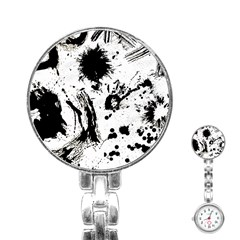 Pattern Color Painting Dab Black Stainless Steel Nurses Watch by Onesevenart