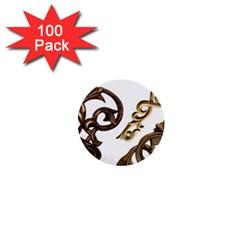 Pattern Motif Decor 1  Mini Buttons (100 Pack)  by Onesevenart