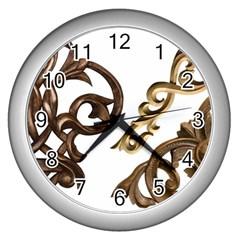 Pattern Motif Decor Wall Clocks (silver)  by Onesevenart