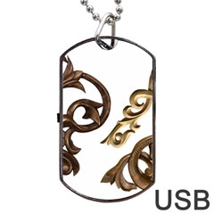 Pattern Motif Decor Dog Tag Usb Flash (two Sides) by Onesevenart