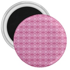 Pattern Pink Grid Pattern 3  Magnets by Onesevenart