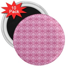 Pattern Pink Grid Pattern 3  Magnets (10 Pack)  by Onesevenart