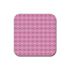 Pattern Pink Grid Pattern Rubber Coaster (square)  by Onesevenart