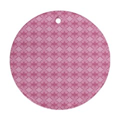 Pattern Pink Grid Pattern Round Ornament (two Sides) by Onesevenart