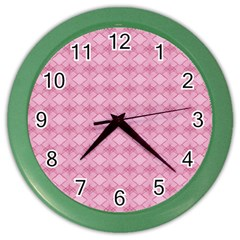 Pattern Pink Grid Pattern Color Wall Clocks by Onesevenart