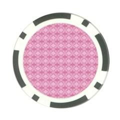 Pattern Pink Grid Pattern Poker Chip Card Guard by Onesevenart