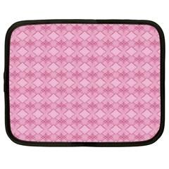 Pattern Pink Grid Pattern Netbook Case (xl)  by Onesevenart