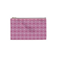 Pattern Pink Grid Pattern Cosmetic Bag (small)  by Onesevenart