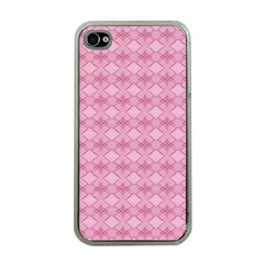 Pattern Pink Grid Pattern Apple Iphone 4 Case (clear) by Onesevenart