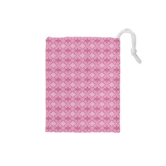Pattern Pink Grid Pattern Drawstring Pouches (small)  by Onesevenart
