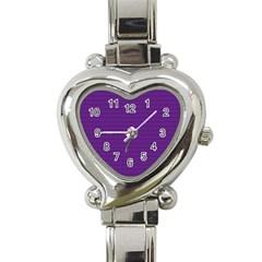 Pattern Violet Purple Background Heart Italian Charm Watch by Onesevenart