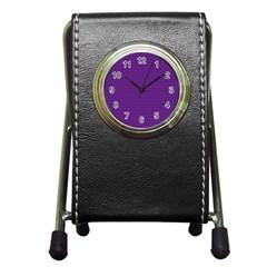 Pattern Violet Purple Background Pen Holder Desk Clocks by Onesevenart