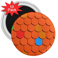 Roof Brick Colorful Red Roofing 3  Magnets (10 Pack)  by Onesevenart