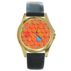 Roof Brick Colorful Red Roofing Round Gold Metal Watch by Onesevenart