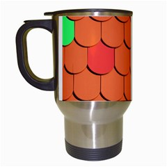 Roof Brick Colorful Red Roofing Travel Mugs (white) by Onesevenart