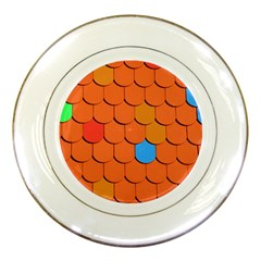 Roof Brick Colorful Red Roofing Porcelain Plates by Onesevenart