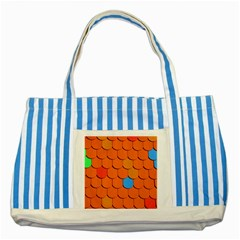 Roof Brick Colorful Red Roofing Striped Blue Tote Bag by Onesevenart